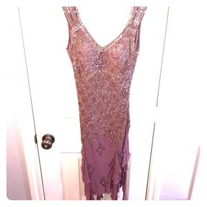 Sue Wong pink/purple beaded cocktail dress